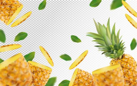 3D realistic pineapple with green leaf. Fresh pineapple in motion. Beautiful pineapple background. Falling pineapple fruits are whole and cut in half. Vector illustration