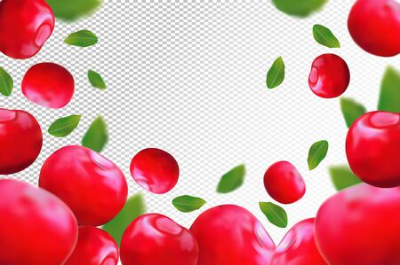 Cherry background. Fresh red cherry with green leaf on transparent background. 3D realistic fruits. Falling cherry. Nature product. Vector illustration. Stock Illustratie