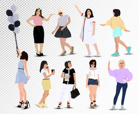 Set of Young happy girls: office girl, schoolgirl, student girl, medical worker, girl with balls, health worker, business women. Set vector icons. Vector in a flat style on transparent background.