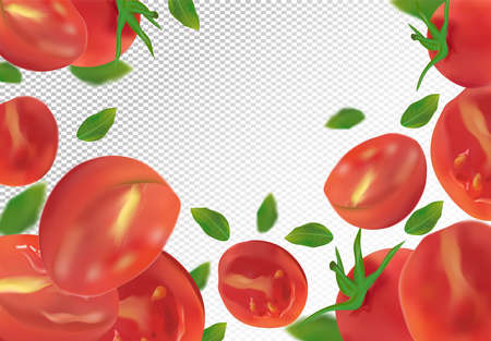Tomato background. Fresh tomato with green leaf on transparent background. Flying tomato are whole and cut in half. Falling tomato from different angles. Nature product. Vector illustration