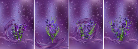 Collection violet lavender with water drops. Splashes water on lavender. Aroma oil lavender. Tender bouquet of lavender. 3D realistic vector illustration.