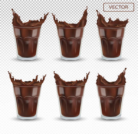 3D realistic chocolate splash in the transparent glass. Big collection cocoa or coffee. Chocolate drink, cocktail isolated on transparent background. Icon set. Vector illustration. Ilustracja