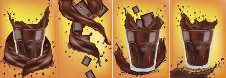 3D realistic chocolate splash in the transparent glass with pieces chocolate. Splashing dark chocolate. Hot chocolate, cocoa, cocktail or coffee drink.Banner. Vector illustration for design label Zdjęcie Seryjne - 154383984