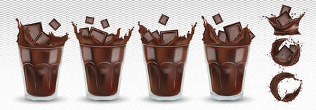 3D realistic chocolate splash in the transparent glass with pieces chocolate. Big collection cocoa or coffee. Splashing dark chocolate. Hot chocolate, drink, cocktail. Icon set. Vector illustration.