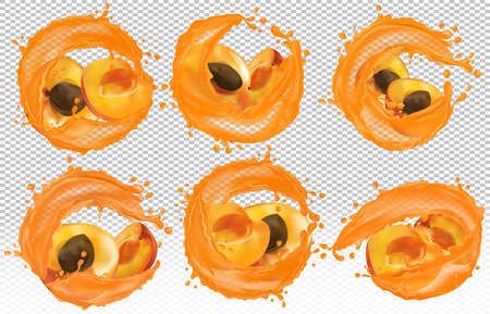 Apricot juice. Collection fresh fruit. Splashing juice on apricot. Sweet cocktail. Apricot are whole and cut in half. 3D realistic apricot. Vector icon Zdjęcie Seryjne
