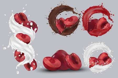 Cherry juice, cherry in chocolate, milk splash. Collection fresh cherry. Sweet dessert. 3D realistic cherry. Vector illustration.