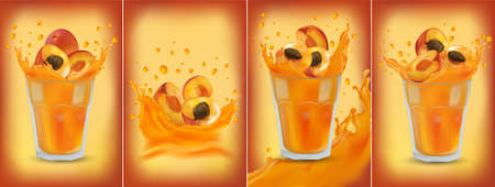 Apricot juice in glass. Collection fresh apricot. Sweet cocktail. 3D realistic apricot. Package design. Apricot are whole and cut in half. Detailed vector Illustration