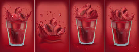 Red cherry juice in glass. Collection fresh cherry. Sweet cocktail. 3D realistic cherry. Package design. Cherry are whole and cut in half. Detailed vector Illustration. Ilustracja