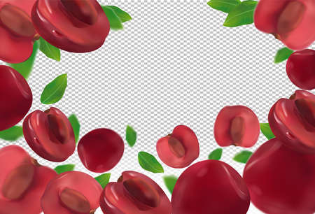 Cherries background. Fresh red cherry with green leaf on transparent background. 3D realistic sweet fruits. Falling cherry. Nature product. Vector illustration.