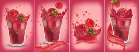 3D realistic fresh raspberry on with splash liquid. Collection red juice raspberry. Summer berries closeup. Package design. Detailed vector Illustration.
