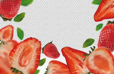 Realistic strawberry on transparent background. Whole strawberries, sliced strawberries with with green leaves. Illustration for your poster, banner, natural product. 3D vector illustration. Zdjęcie Seryjne - 154528508