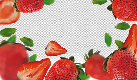 Realistic strawberry on transparent background. Whole strawberries, sliced strawberries with with green leaves. Illustration for your poster, banner, natural product. 3D vector illustration. Zdjęcie Seryjne - 154528509