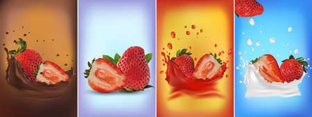 Set of fresh sliced and whole, ripe strawberries: chocolate splashes, strawberries in a splash of milk or yogurt, strawberries in a splash of fresh juice. 3D vector illustration for your product. Zdjęcie Seryjne - 154528514