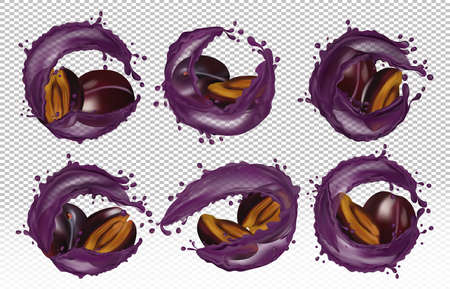 Set of 3d icons of six varieties of plum in splashes of drops. Collection detailed realistic ripe fresh plum for your banner, poster, natural ecological product. Fresh plum sliced and whole.3D vector. Zdjęcie Seryjne - 154528518