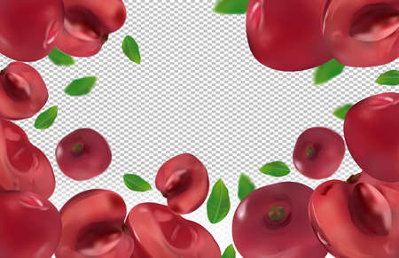 Cherry background. Flying cherries with green leaf on transparent background. 3D realistic fruits. Cherry falling from different angles. Banner. Vector illustration.