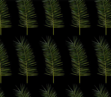 Tropical leaf pattern on dark background. 3D realistic tropical exotic leaf. Seamless pattern. Vector illustration. Zdjęcie Seryjne - 154528572