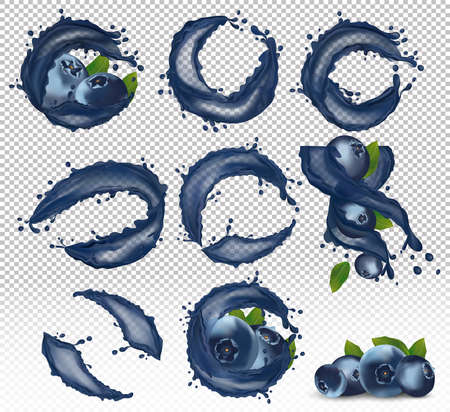 Juicy ripe blueberry with splash juice berry. Fresh blueberry from different angles. Smoothie or jam with blueberry. Wild summer blueberry. Illustration for your poster, banner. 3D vector icon.