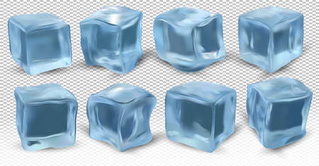 Realistic ice cubes on transparent background. Eight blue ice cubes for different angles. 3D vector icon.