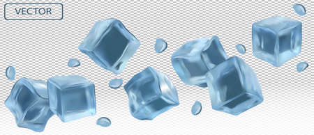 Ice cubes with water drops on transparent background. Frozen ice cubes from different angles. 3D realistic vector illustration. 矢量图像