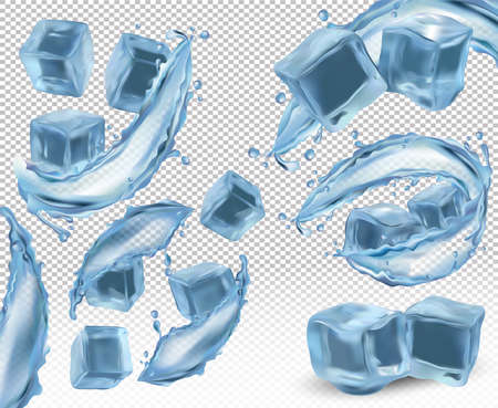 Realistic ice cubes with splashes and the twists of water on transparent background. Ice cubes from different angles. 3D vector icon. 矢量图像