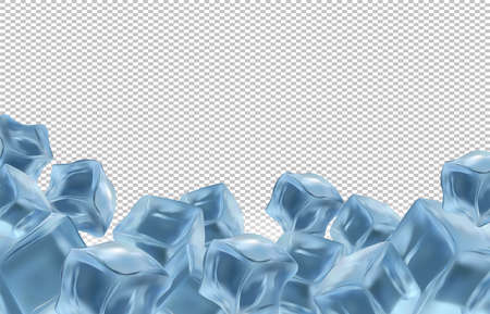 Frozen ice cubes on transparent background with copy space for your text. Realistic ice cubes close up. Vector illustration