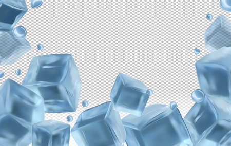 Frozen ice cubes on transparent background with copy space for your text. Realistic ice cubes close up and water drops. Vector illustration.