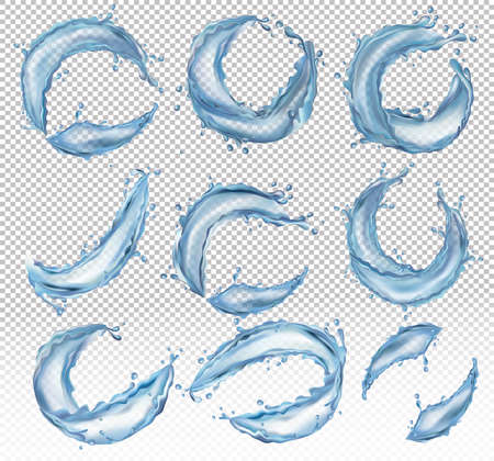 Collection realistic of transparent water splashes from different angles. 3D vector icon.