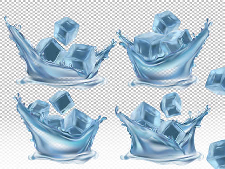 Realistic ice cube and water splash on transparent background. Blue frozen ice cubes from different angles. Vector illustration.