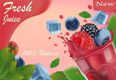 Sweet multi vitamin juice. 3D realistic black raspberry, blueberry, raspberry and frozen ice cubes. Promotion banner. Vector illustration.