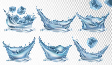 Realistic water splash and frozen ice cubes on transparent background. Collection 3D icon. Vector illustration.