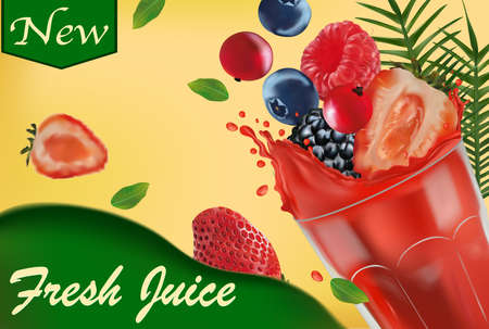 Sweet multi vitamin juice. Splash of juice on fruit. Realistic strawberry, raspberry, blueberry, black raspberry, red currant berry. Vector illustration.