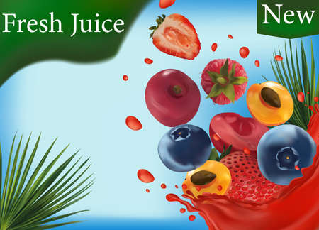 Sweet multi vitamin juice. Splash of juice on fruit. Realistic strawberry, raspberry, blueberry, cherry, apricot. Vector illustration. 矢量图像