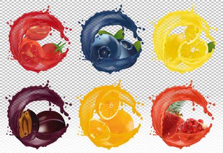Splash of juice on sweet fruit. Berry blueberry, lemon, orange, plum, pomegranate, tomato 3D realistic fruit and vegetables on transparent background. Vector illustration.