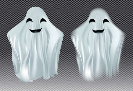 White transparent ghost vector illustration. Ghosts isolated on dark background. The concept of halloween, monster, spirit, poltergeist that floats in air. Creatures from another world, the afterlife