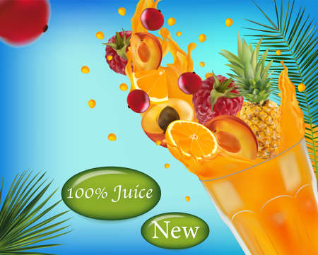 Sweet multi vitamin juice. Splash of juice on fruit. Realistic pineapple, raspberry, apricot, red currant berry, orange. Illustration for your poster, banner, natural product. Vector illustration. 矢量图像