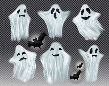 Set white transparent ghost vector illustration. Ghosts isolated on dark background. The concept of halloween, monster, spirit. Creatures from another world. Vector illustration