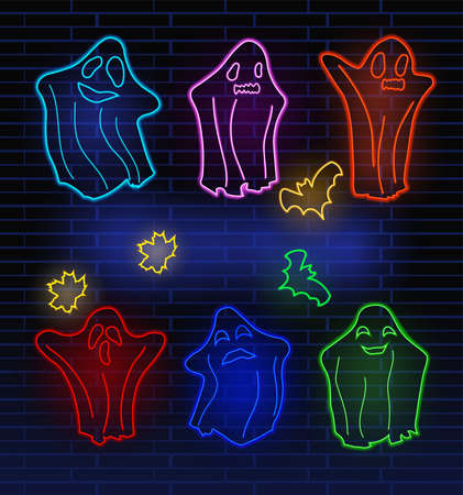 Set neon ghosts, bats and autumn leaf. Concept Halloween, monster, spirit. Character halloween from another world. Bright neon sign boards, light banner. Vector illustration.