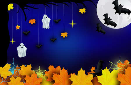 Happy Halloween. Ghosts, bats, yellow autumn leaf and bright moon on dark background. Character halloween from another world, the afterlife. Vector illustration.