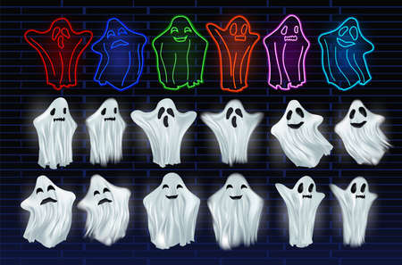 Set white transparent and neon ghost vector illustration. Ghosts isolated on dark background. The concept of halloween, monster, spirit. Creatures from another world. Vector illustration 免版税图像