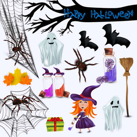 Characters halloween, little witch, ghost, spider, leaf, cobweb, bats realistic broomstick. Concept Happy halloween. 3D vector icon 矢量图像