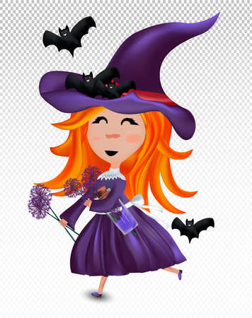 Little witch with a hat and red hair. Halloween witch with bats and magic potion in hands isolated on transparent background. Halloween costume concept for girls. 3d vector realistic illustration.