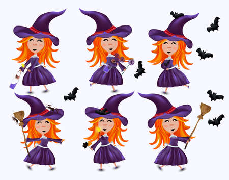 Collection of little witches in hats and red hair. Halloween witches set with bats, magic potion, broom, spider. Six variants of the little witch. Vector 3d illustration isolated on white background.