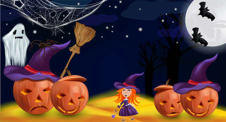 Happy Halloween party. Orange pumpkins with a hat, little witch with red hair, ghost, spider, cobweb, bats, and realistic broomstick. Characters Halloween. Vector illustration. 矢量图像