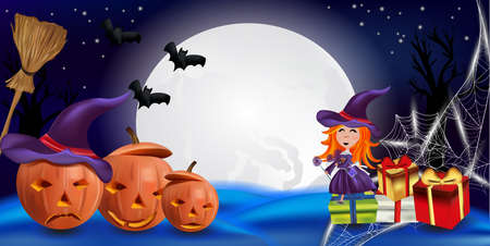 Happy Halloween party. Orange pumpkins with a hat, little witch with presents, cobweb, bats, and realistic broomstick. Characters Halloween. Vector illustration.