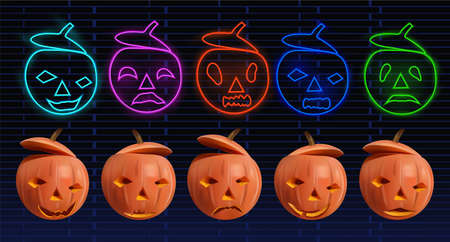 Big set orange and neon pumpkins for your design on dark background. Characters Halloween. Set of the happy and evil pumpkin. 3D realistic vector illustration