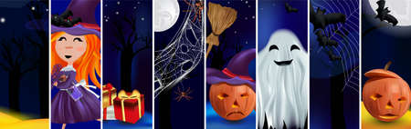 Characters Halloween pumpkins, little witch, cobweb, bats, broomstick, spiders, ghost, magic potion. Concept Happy Halloween. Vector illustration
