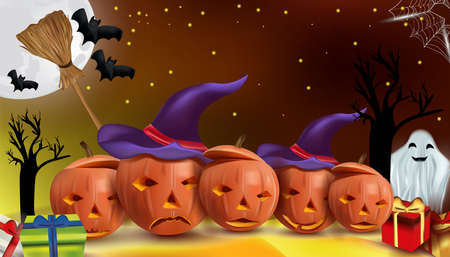 Characters Halloween pumpkins, cobweb, bats, broomstick, ghost. Happy pumpkins under the moonlight, Happy Halloween. Vector illustration.