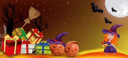 Characters Halloween pumpkins, cobweb, bats, broomstick, spider and little witch with a hat. Happy characters under the moonlight, Happy Halloween. Vector illustration