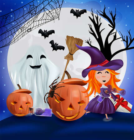 Characters Halloween pumpkin, cobweb, bats, broomstick, spider and little witch with a hat. Happy characters under the moonlight, Happy Halloween. Vector illustration.