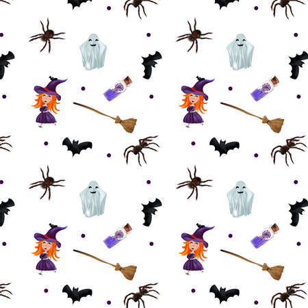 Happy Halloween, seamless pattern with ghosts, little witch, broomstick, bats, magic potion on transparent background. Vector illustration.